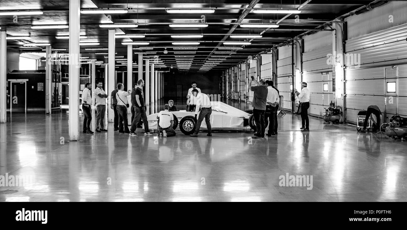SILVERSTONE UK - JUNE 8, 2018: Pit stop challenge event at Silverstone Grand Prix Race Circuit - Stock Image