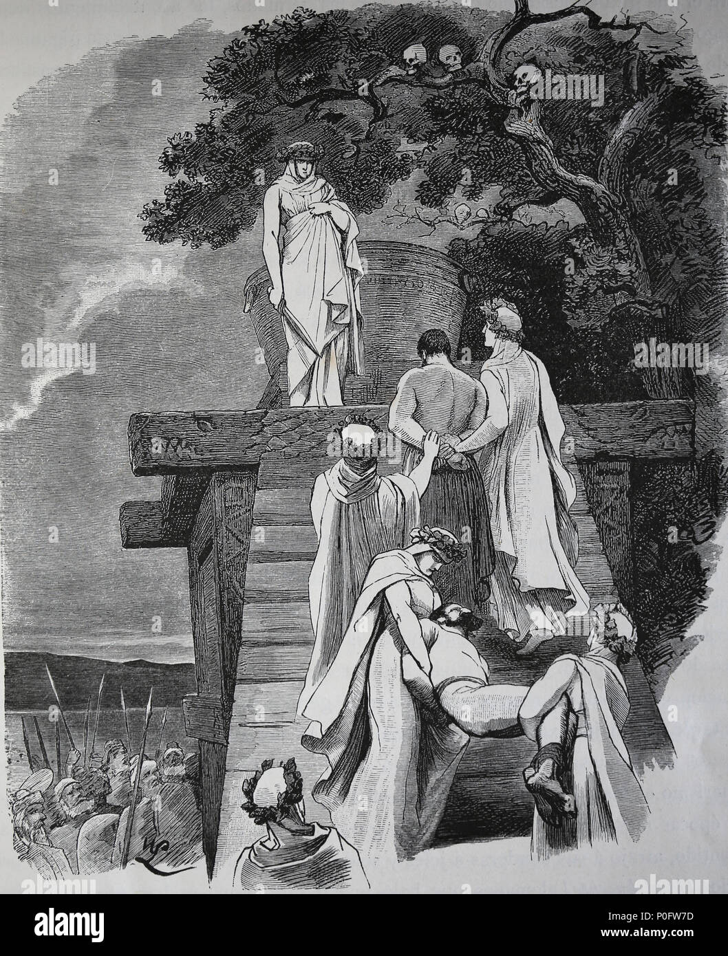 """Human sacrifice in ancient Germany. Engraving, 1882 of """"Germania"""". Stock Photo"""