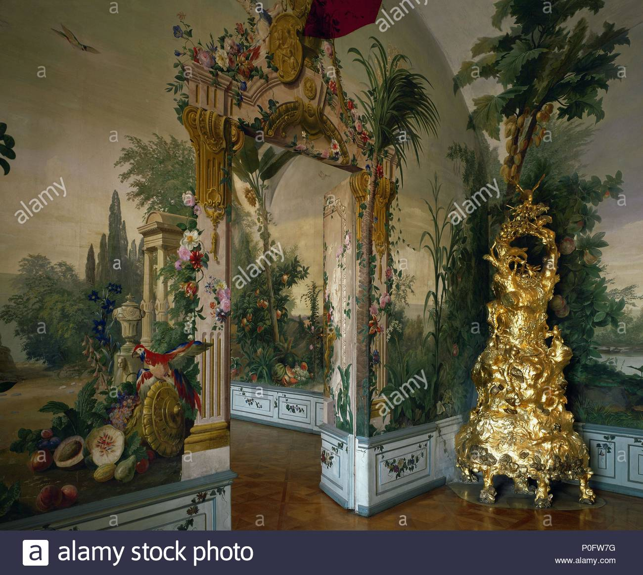 Garden room (around 1770) with gilded stove in form of a tree ...