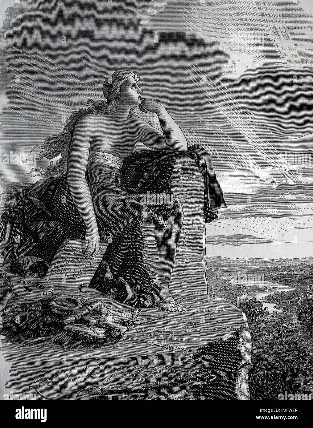 Veleda. Was a priestess and prophet of the Germanic tribe of the Bructeri. Engraving of Germania, 1882 - Stock Image