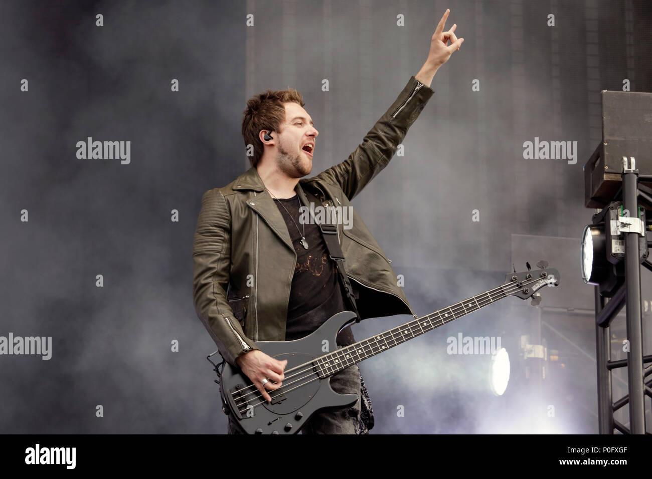 Jamie Mathias of Bullet for My Valentine performs on stage during Download Festival 2018 at Donington Park, Derby on June 8th 2018. - Stock Image