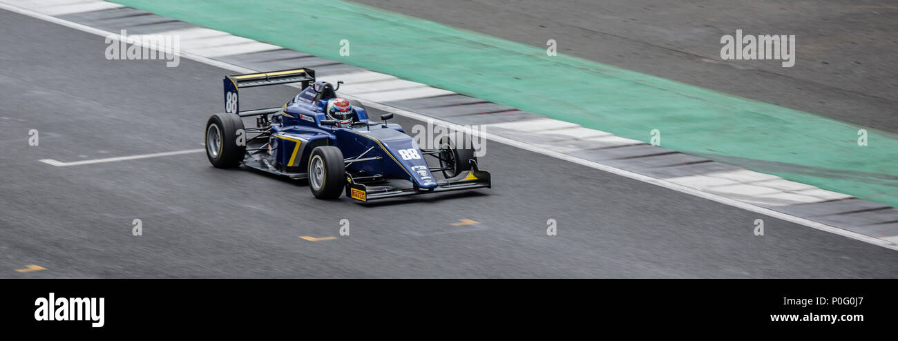 SLIVERSTONE UK - JUNE 8, 2018: Renault Sport Academy racer Sun Yue Yang at Silverstone race circuit for the 2018 BRDC British F3 Championship - Stock Image