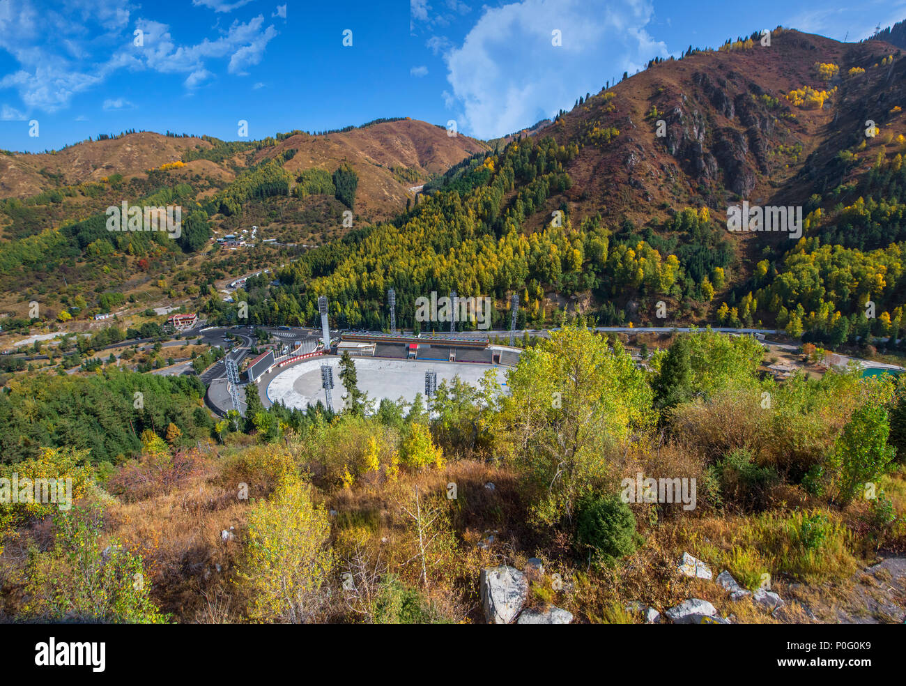 View on the famous Medeo skating rink - Stock Image