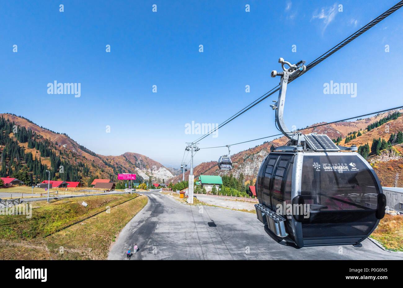 Modern funicular on Chymbulak. Kazakhstan - Stock Image