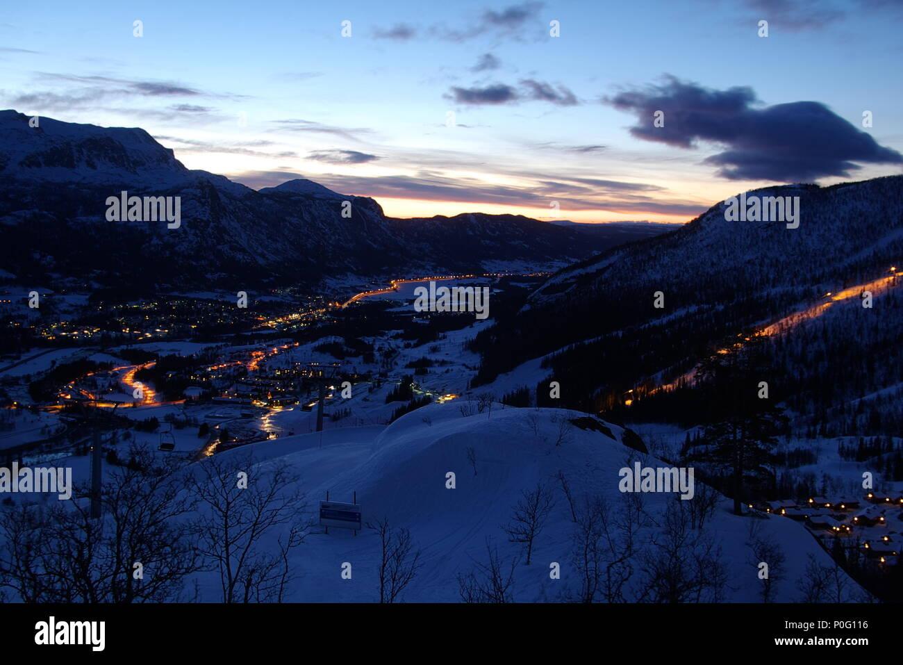 Sunrise over Hemsedal ski resort, Norway - Stock Image