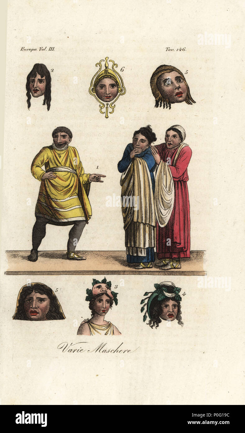 Masks From Ancient Greek Theatre A Slave In Short Tunic Makes An Indecent Gesture At Two Women Comedy Satiric Mask 2 Comic 34 And
