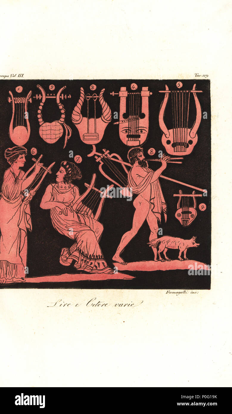 Types of Greek lyres 1-5, 9, woman playing kithara or zither 6,7, and man playing aulos or tibia from ancient Greek vases. Handcoloured copperplate engraving by Fumagalli from Giulio Ferrario's Costumes Ancient and Modern of the Peoples of the World, Florence, 1847. - Stock Image