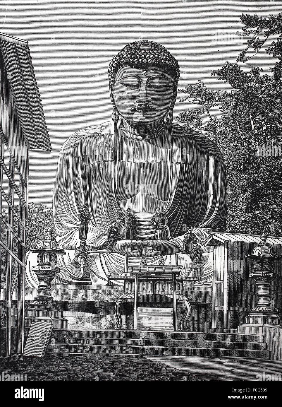 Daibutsu at Kamakura - Colossal Statue of Buddha, Japan, digital improved reproduction of an original print from the year 1881 - Stock Image