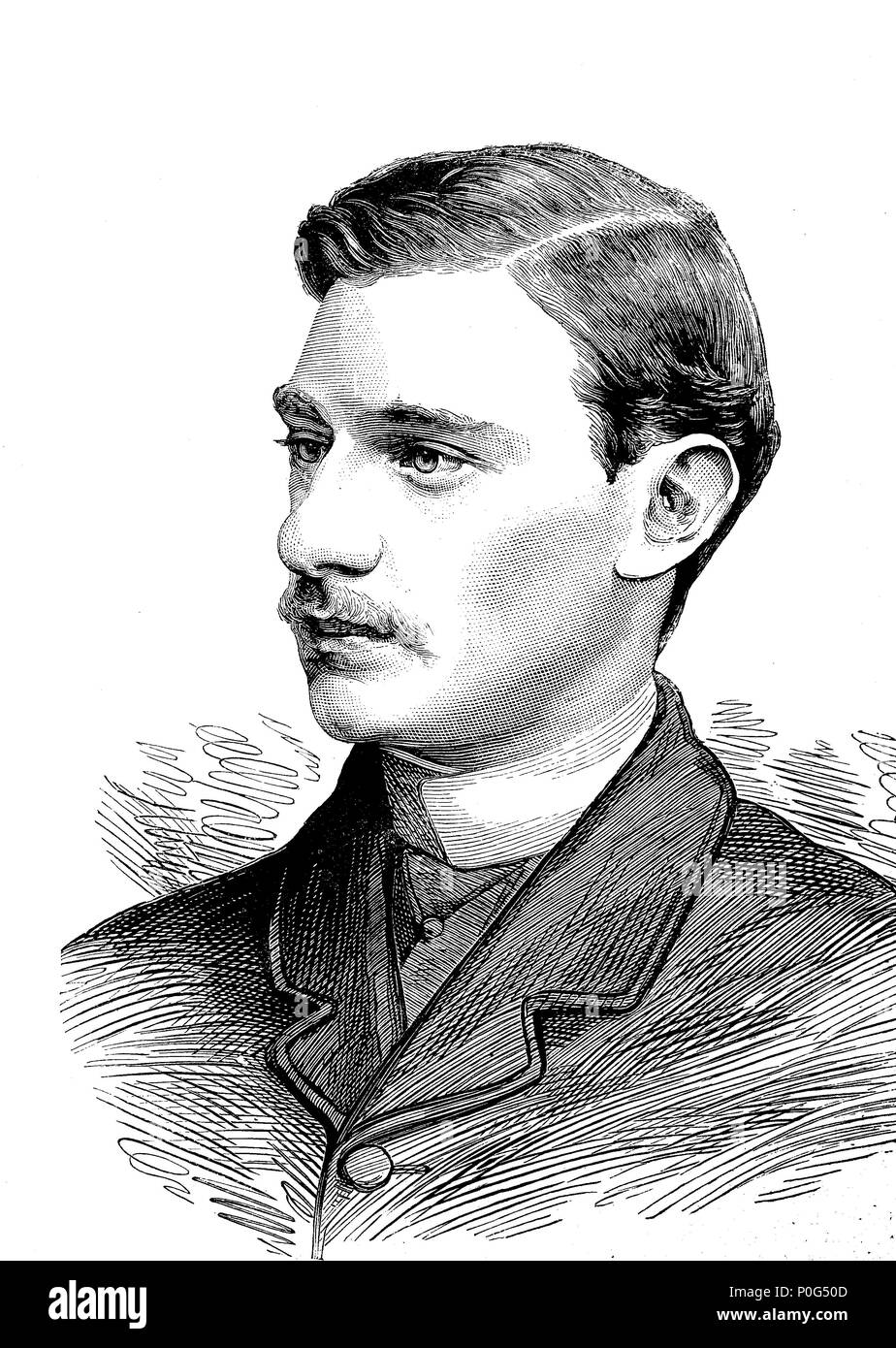 Charles Alfred Worsley Pelham, 4th Earl of Yarborough KG PC (11 June 1859 - 12 July 1936), styled Lord Worsley until 1875, was a British peer and politician, digital improved reproduction of an original print from the year 1881 - Stock Image