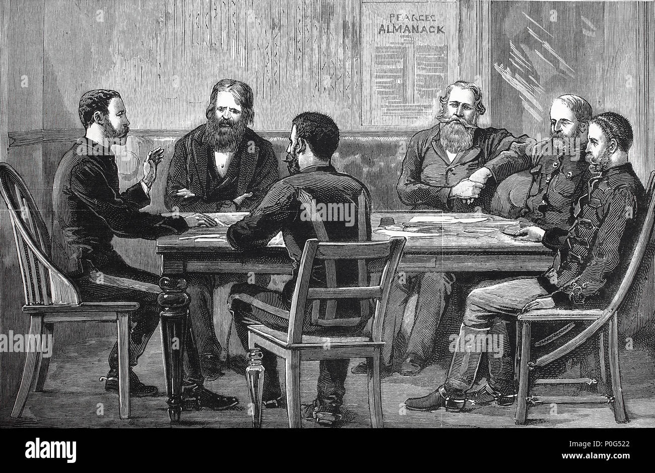 interior of o'Neill's farm house, meeting of general Wood and general Joubert, March, 18, 1881, Petrus Jacobus Joubert (20 January 1831 or 1834 - 28 March 1900), better known as Piet Joubert, was Commandant-General of the South African Republic from 1880 to 1900, digital improved reproduction of an original print from the year 1881 - Stock Image