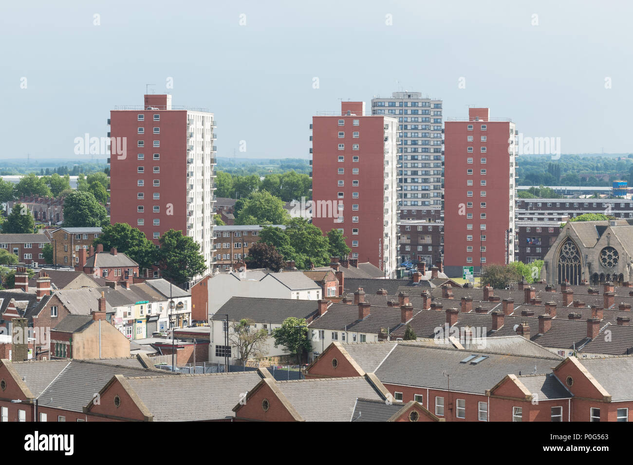 Doncaster housing - high rise tower blocks council housing and rows of traditional terrace houses - Stock Image