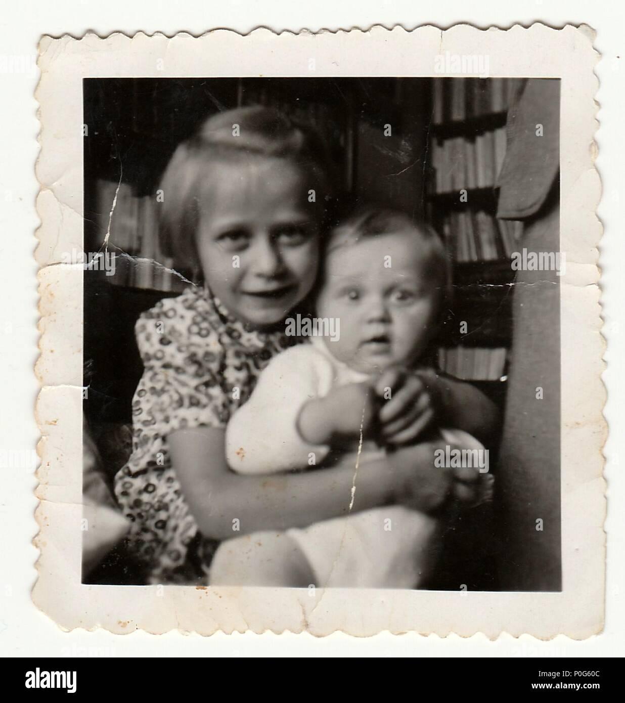 HODONIN, THE CZECHOSLOVAK REPUBLIC, CIRCA 1935: The small girls - vintage photo, circa 1935. Stock Photo