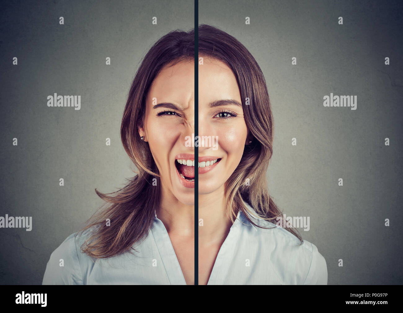 Bipolar disorder concept. Young woman with double face expression isolated on gray background - Stock Image
