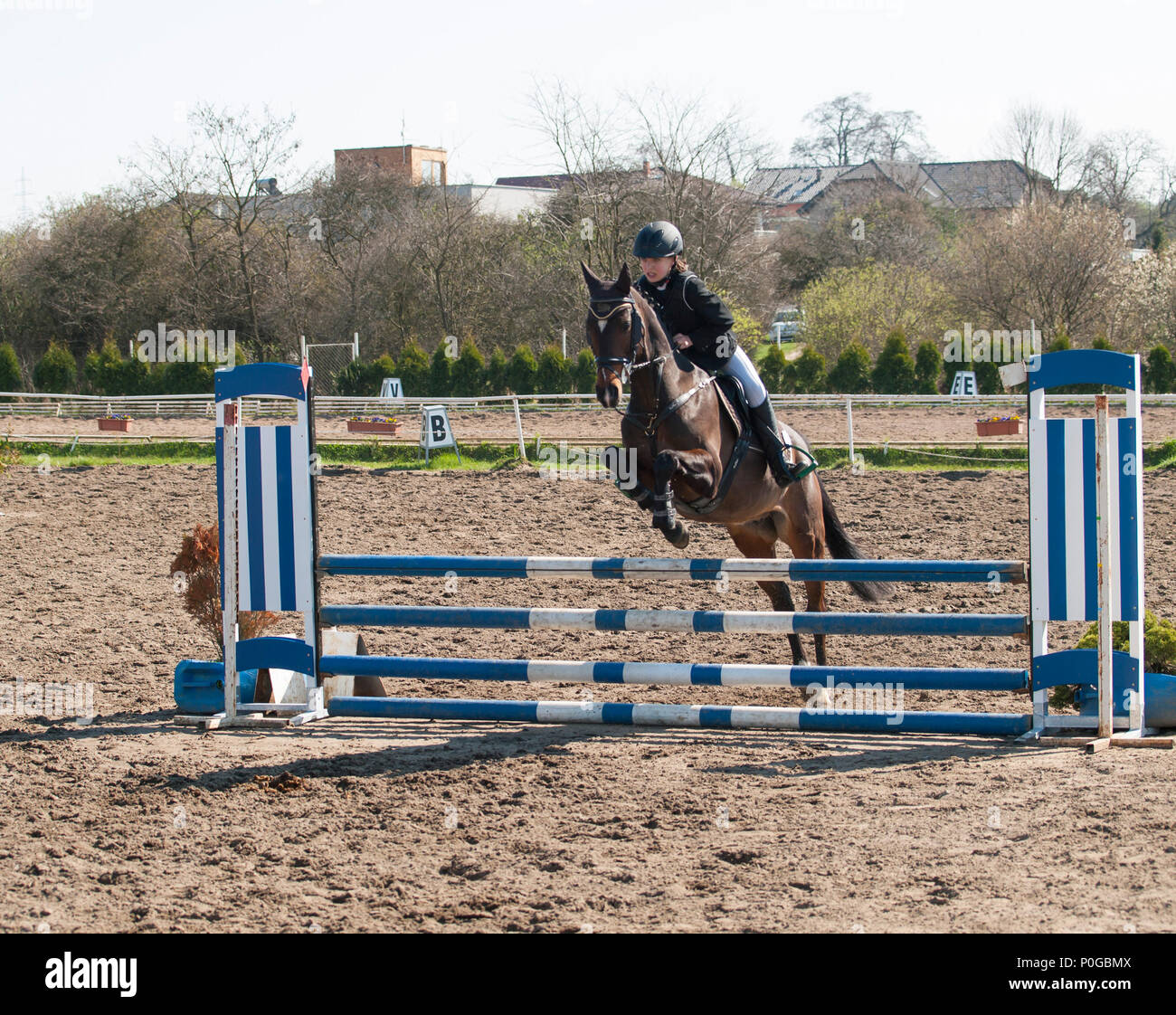 Girl jumping over hurdle on showjumping competition - Stock Image