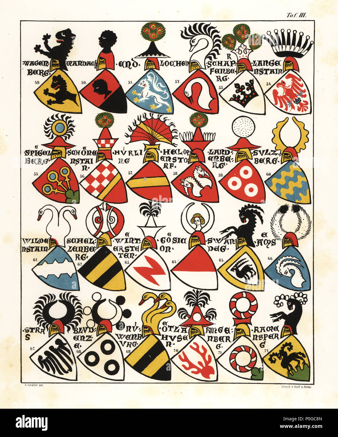 Swiss coats of arms, c. 1340. Chromolithograph by A. Graeter from Die Wappenrolle von Zurich, The Zurich Armorial, Antiquarische Gesellschaft in Zurich, 1860. Reprint of a 14th century manuscript roll of arms showing the heraldry of the Holy Roman Empire with 559 coats of arms and 28 flags of bishoprics in Switzerland. - Stock Image
