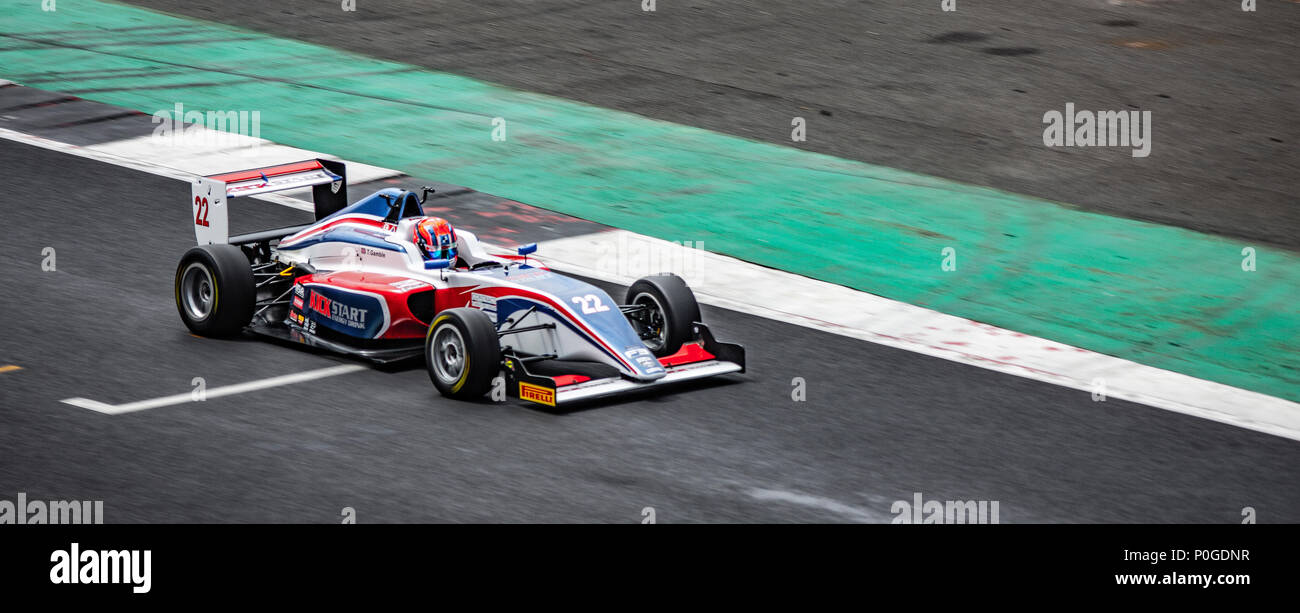 SILVERSTONE UK - JUNE 8, 2018: Tom Gamble BRDC British F3  Championship at Silverstone race circuit - Stock Image