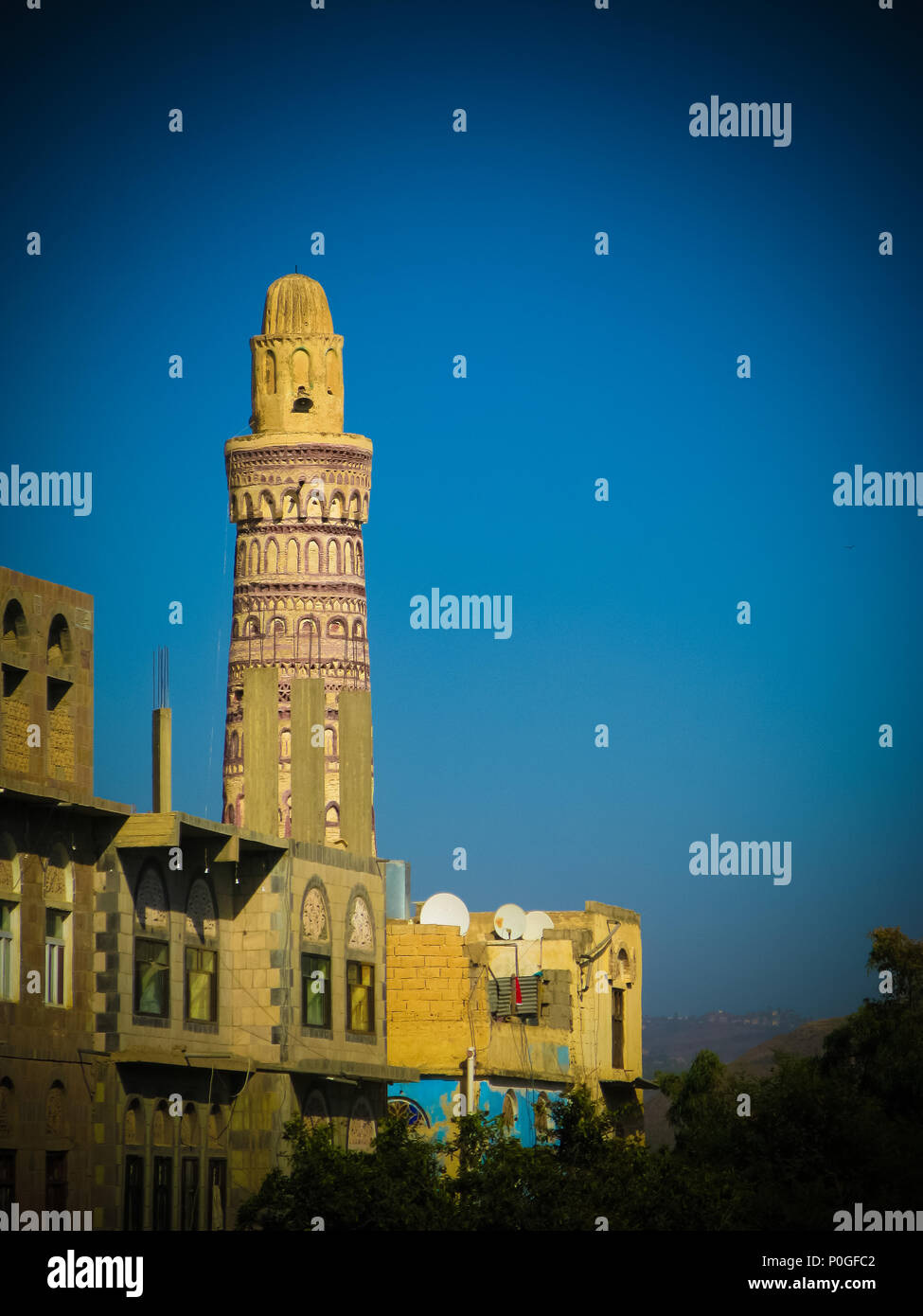 View to Jibla old city and former synagogue in Yemen - Stock Image