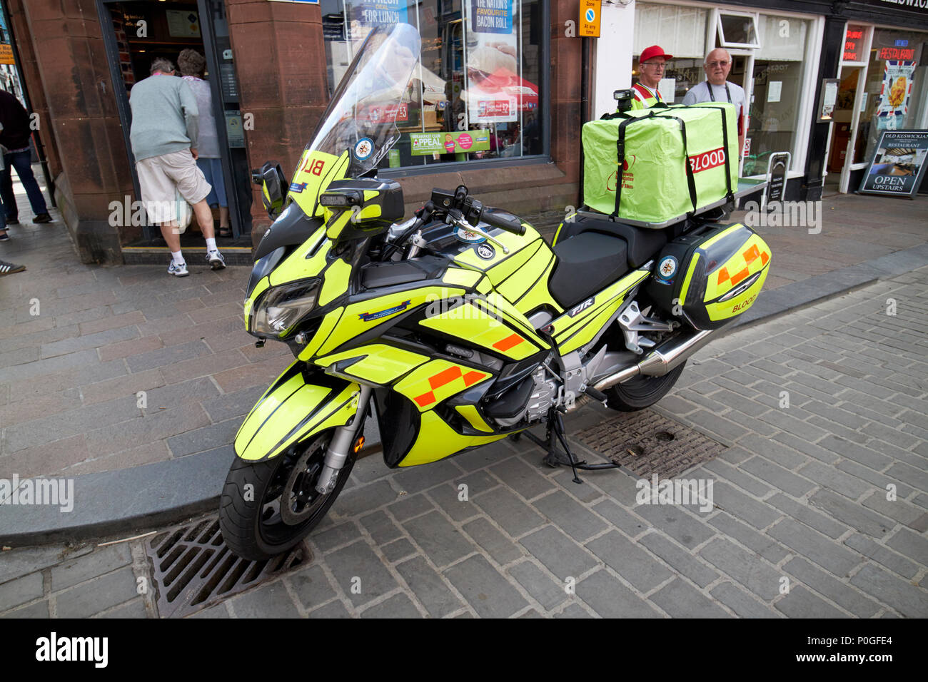 Yamaha FJR emergency blood delivery bike Keswick Cumbria England UK - Stock Image