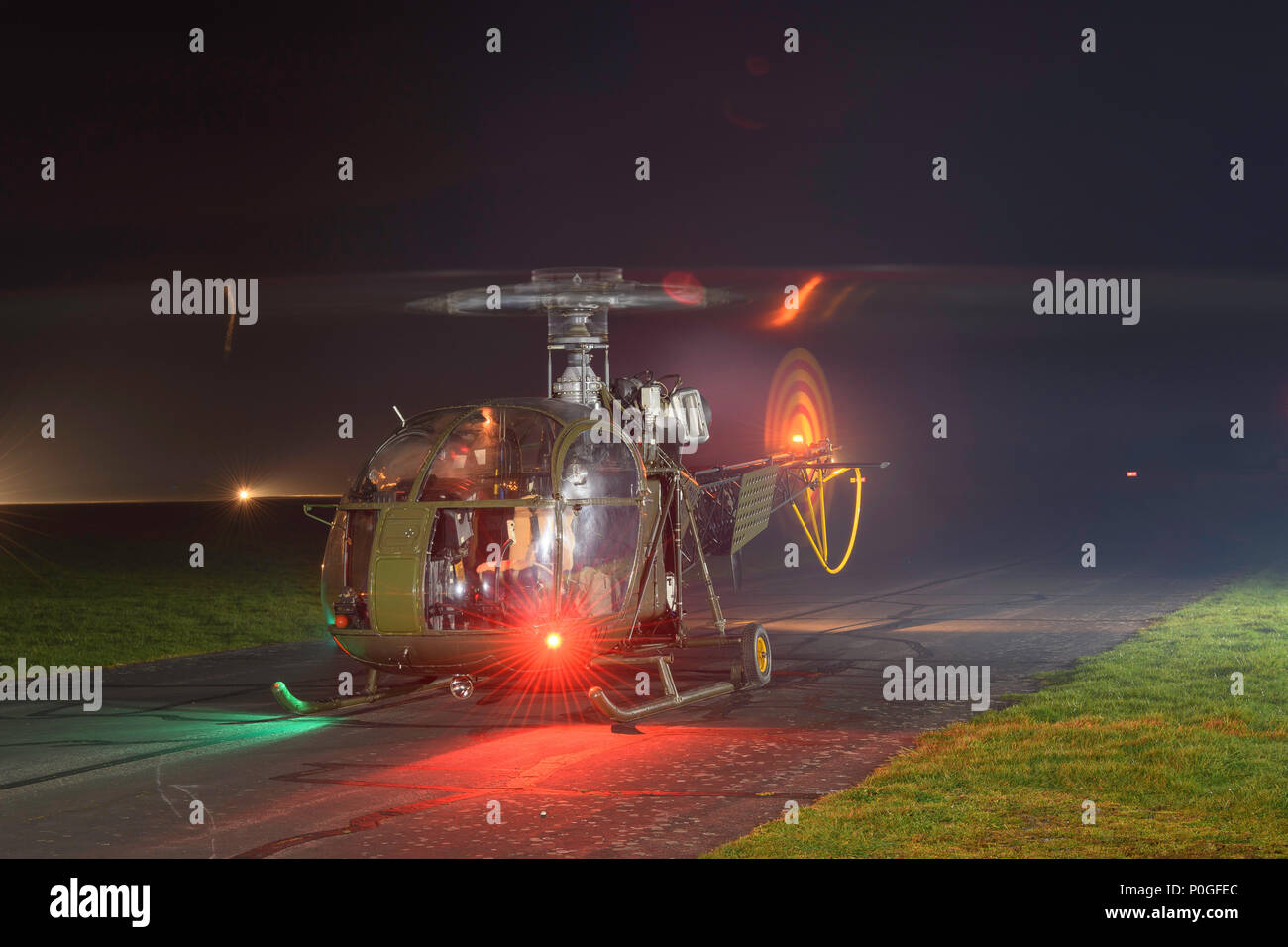 Historic Flight Alouette helicopter XR379 now flies as 2-ALOH Middle Wallop Andover Hampshire UK - Stock Image