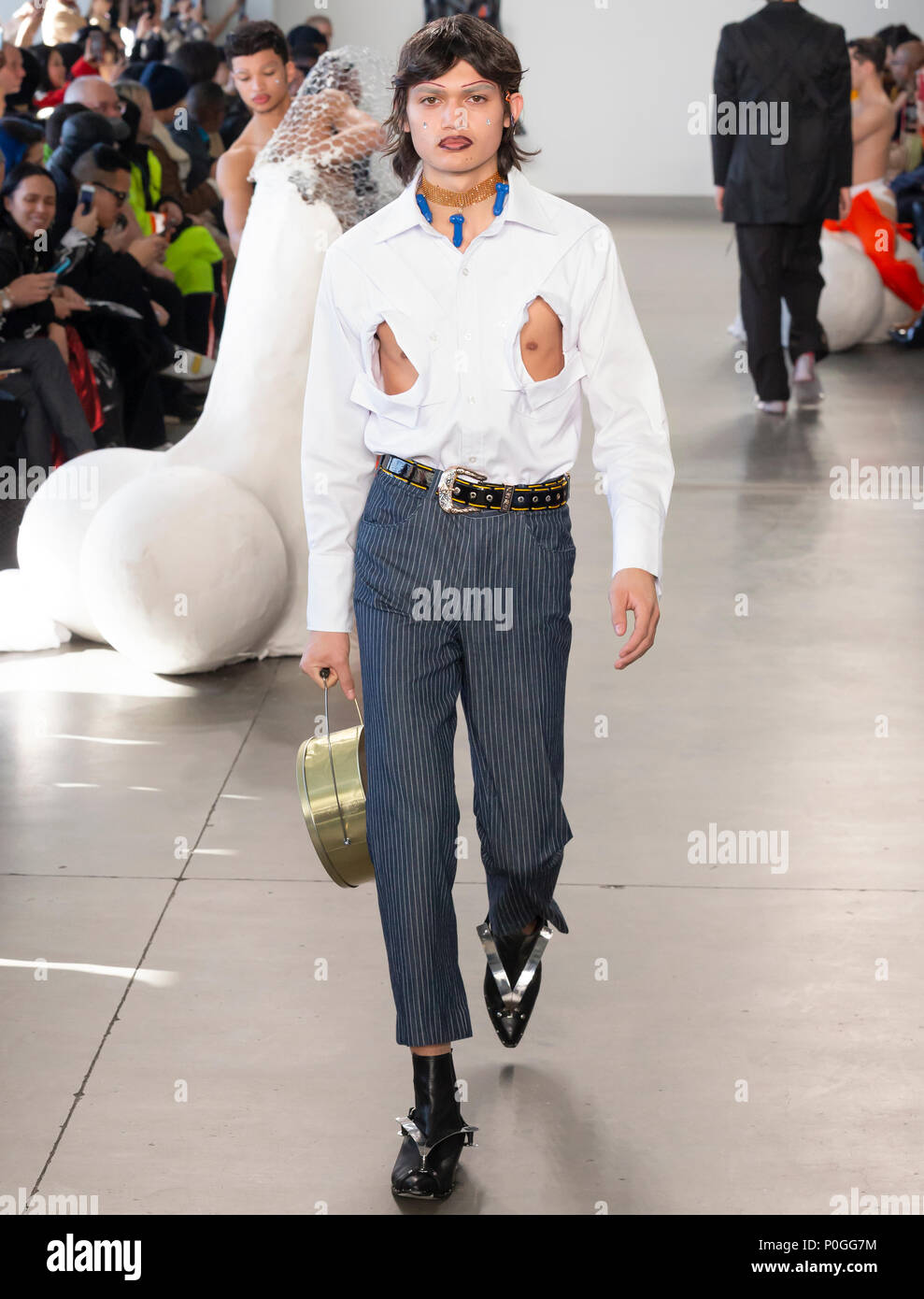 NEW YORK, NY - Feb 05, 2018: A model walks the runway at the