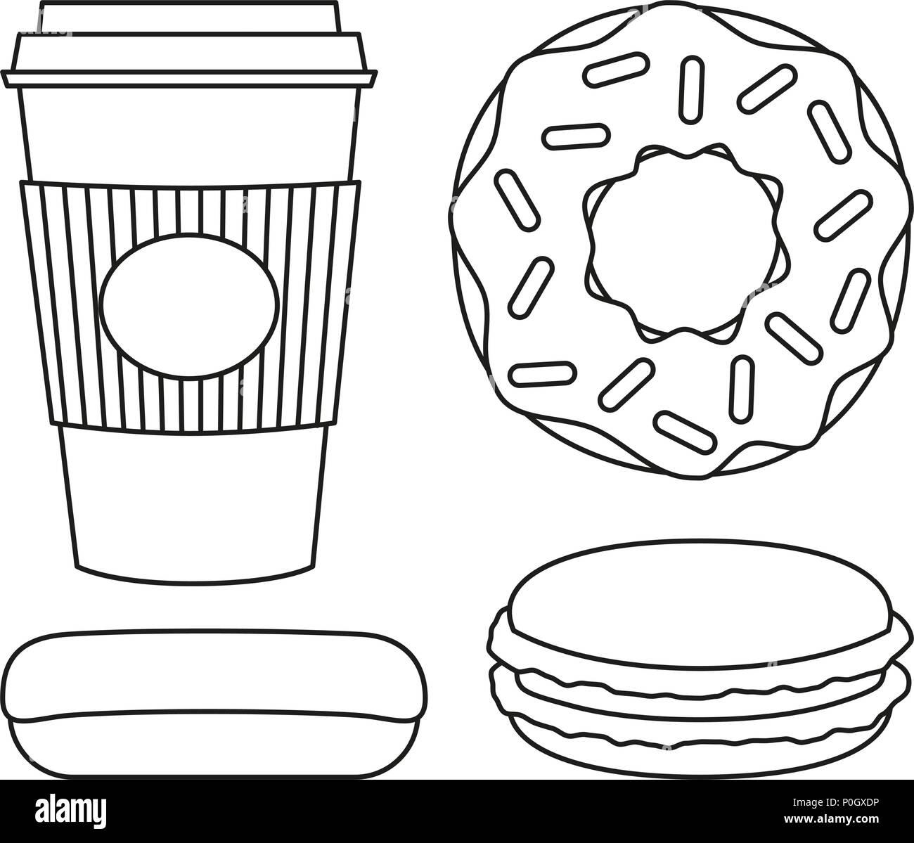 Vector Outline Sweet Donut Food Stock Photos Vector