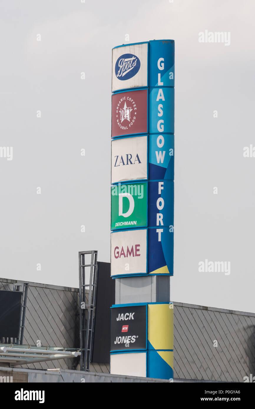 Glasgow Fort shopping centre sign, Glasgow, Scotland, UK - Stock Image