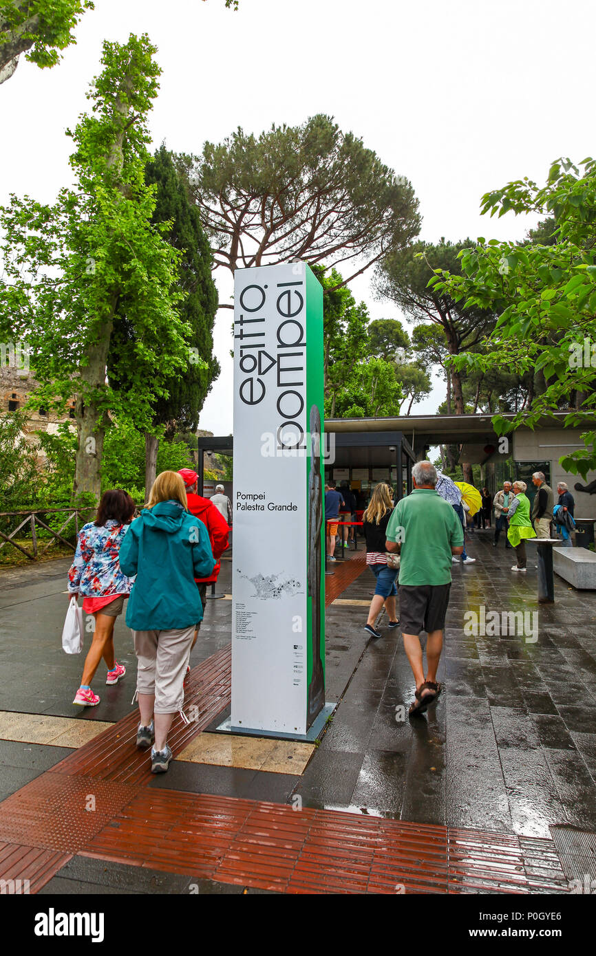 People or tourists queuing at the entrance to the Pompeii Archaeological site, Pompeii, Campania, Italy, - Stock Image