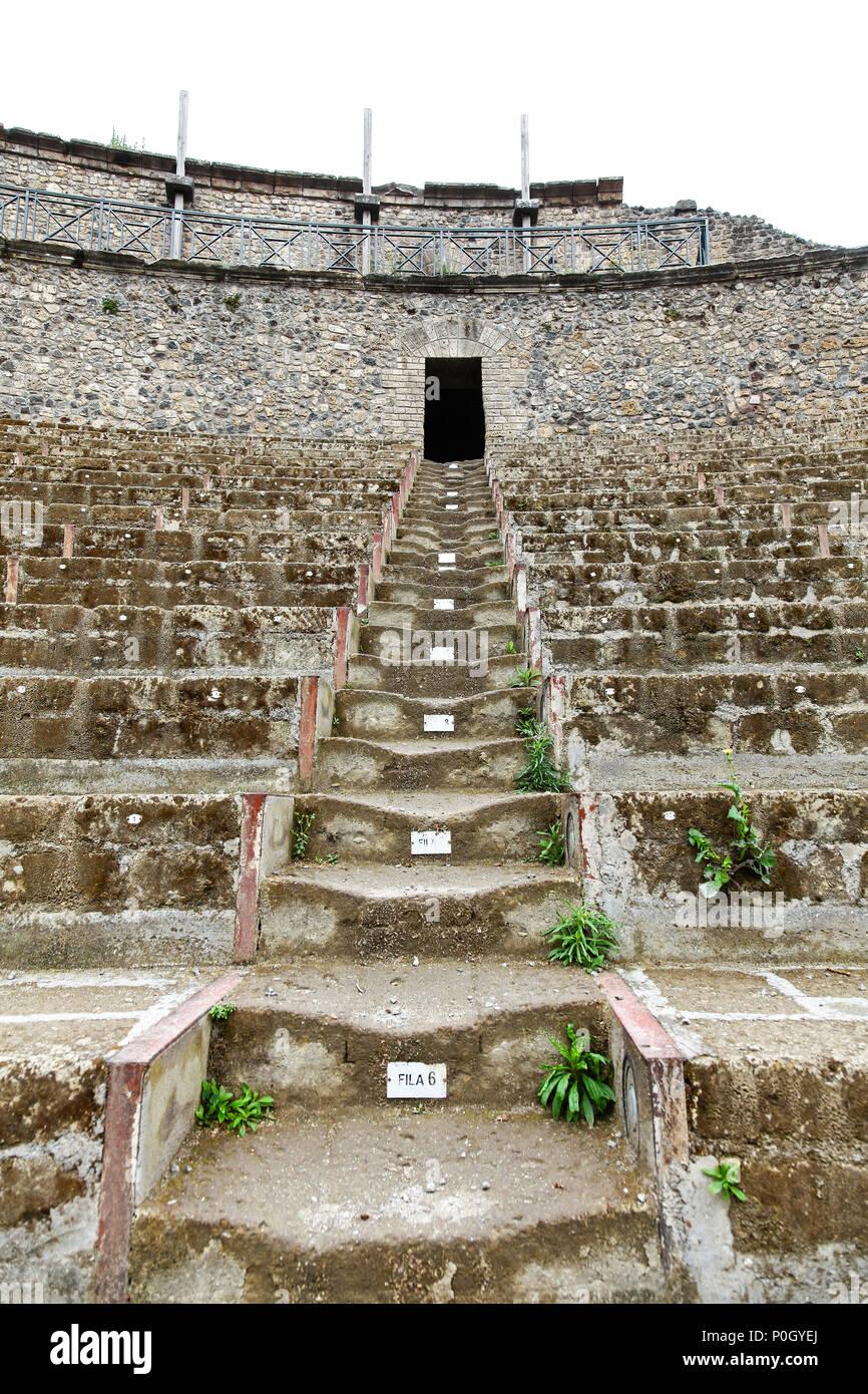 An ancient roman amphitheatre, Pompeii Archaeological site, Pompeii, Campania, Italy, - Stock Image