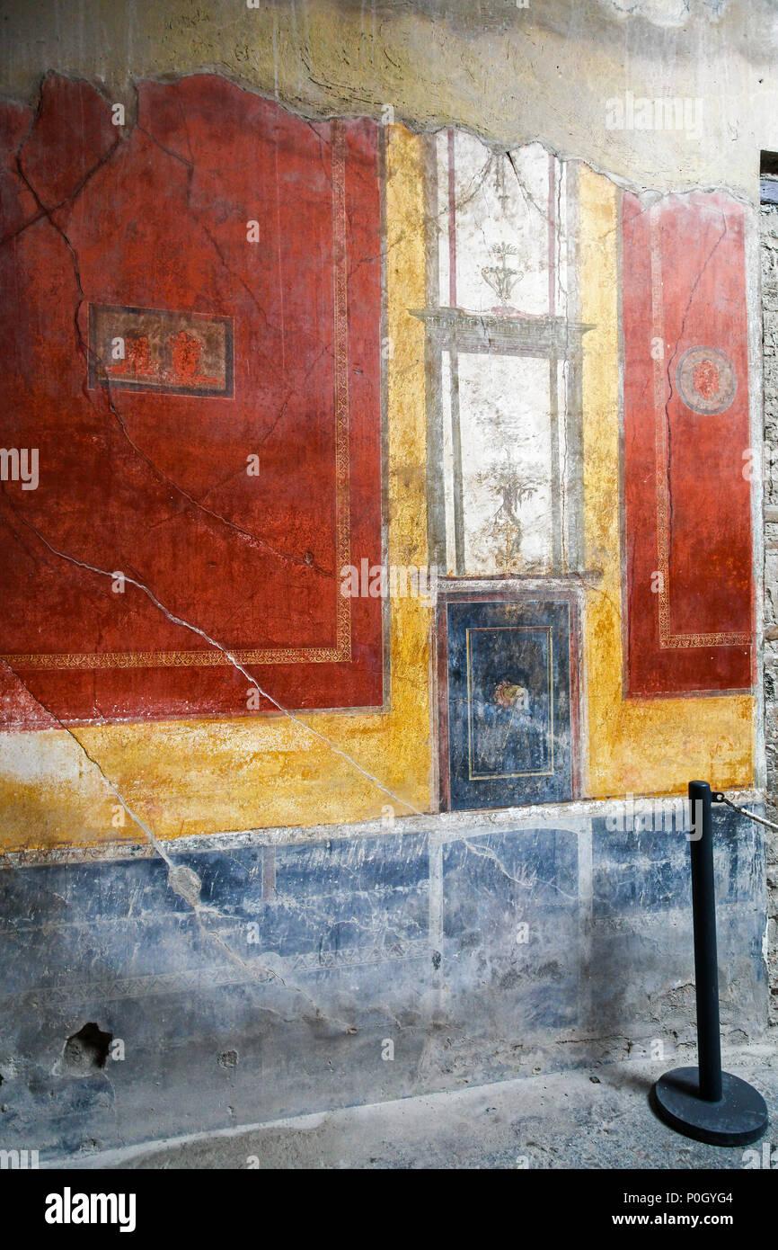 Frescos in a roman villa at the Pompeii Archaeological site, Pompeii, Campania, Italy, - Stock Image