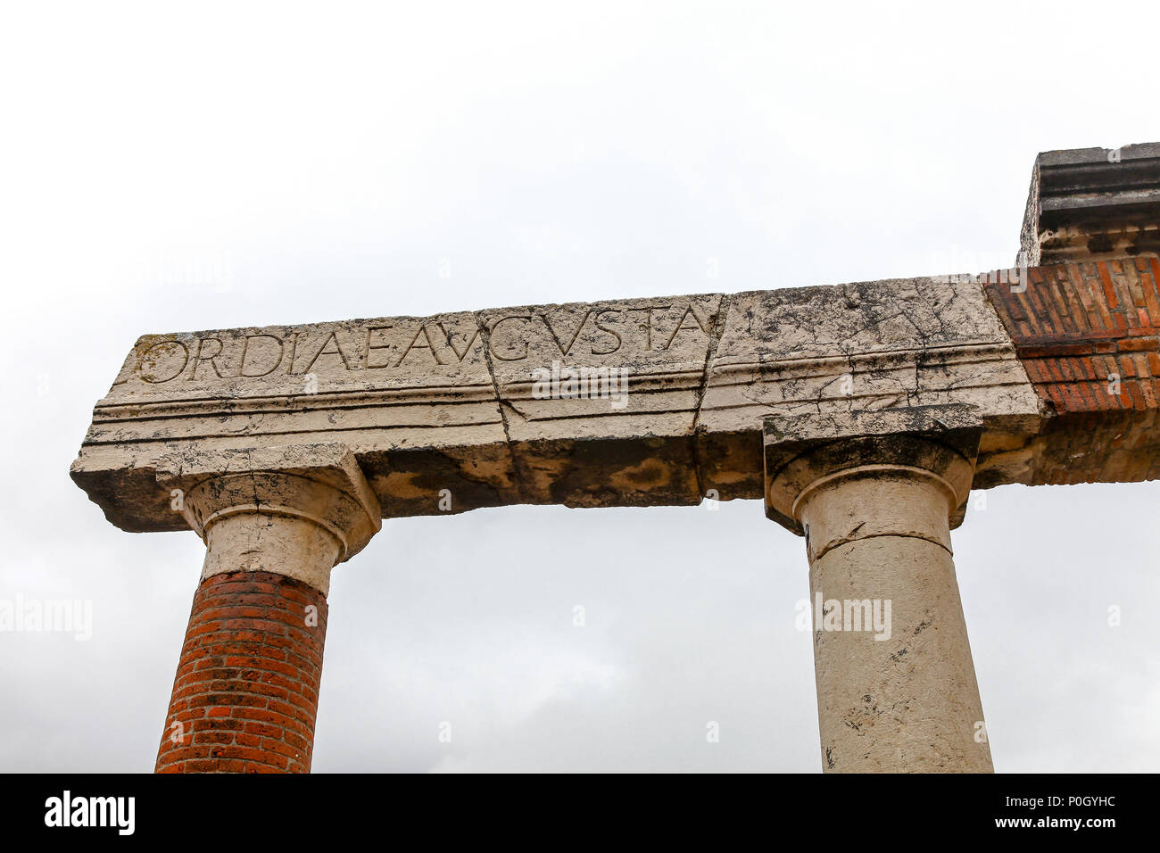 An inscribed stone column at the Pompeii Archaeological site, Pompeii, Campania, Italy, - Stock Image