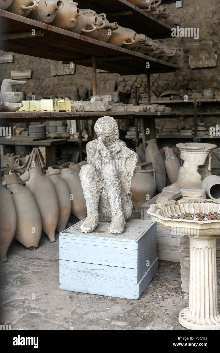 Bodies preserved as plaster casts from the eruption of Vesuvius in AD 79 at the Pompeii Archaeological site, Pompeii, Campania, Italy, Stock Photo