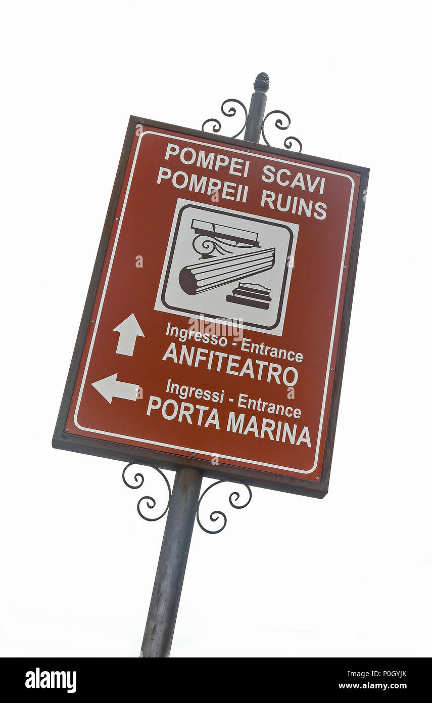 A sign outside the Pompeii Archaeological site, Pompeii, Campania, Italy, - Stock Image