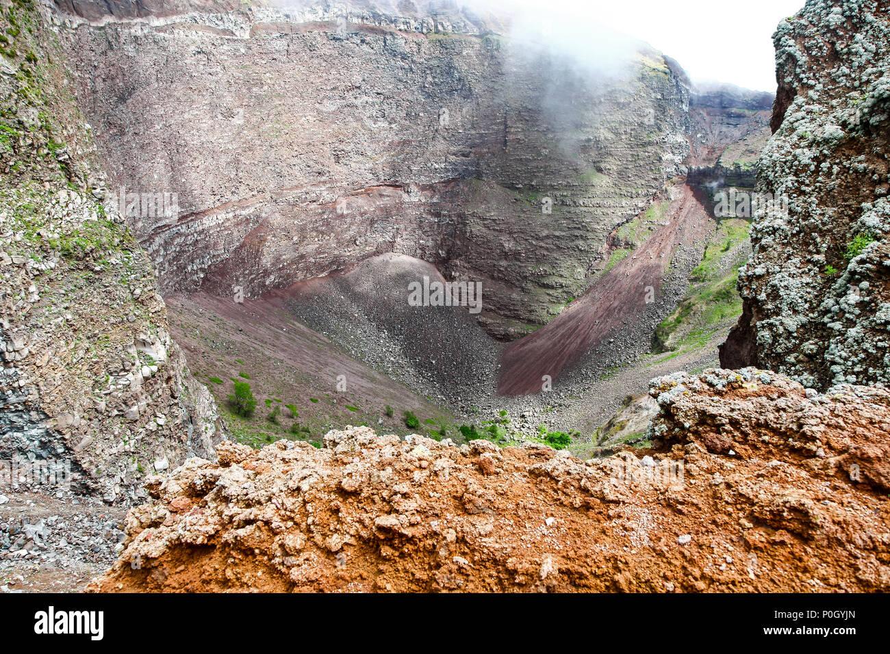 Vesuvius, Mount Vesuvius or in Italian Vesuvio, is an active volcano that rises above the Bay of Naples on the plain of Campania in Italy - Stock Image