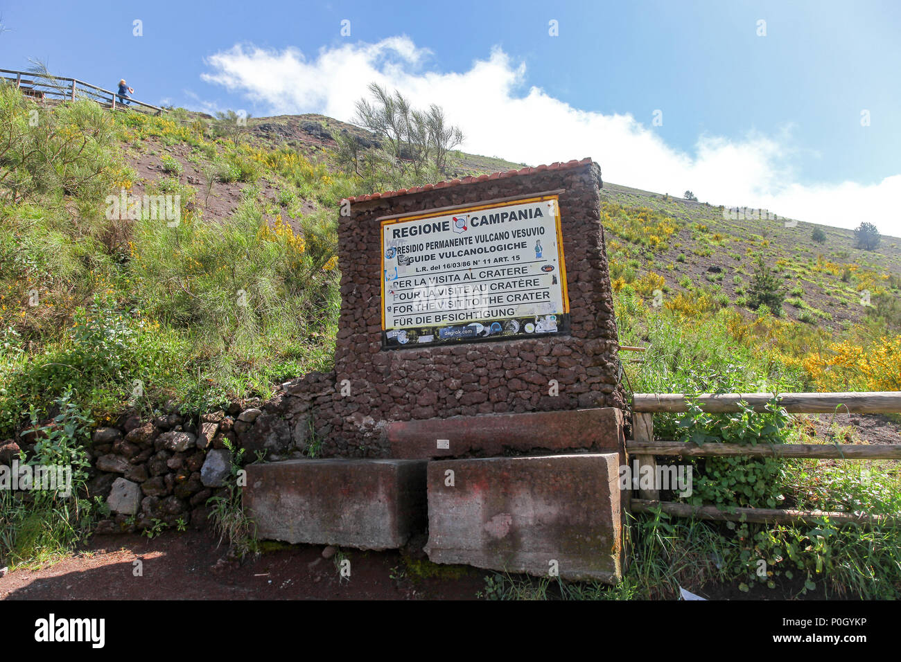 A notice or sign board at Vesuvius, Mount Vesuvius or Vesuvio, an active volcano above the Bay of Naples on the plain of Campania in Italy - Stock Image
