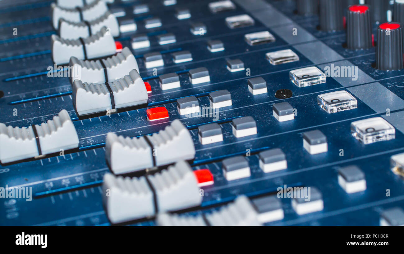 audio mixer, music equipment, recording, studio gears, broadcasting tools, mixer, synthesizer with shallow depth of field - Stock Image