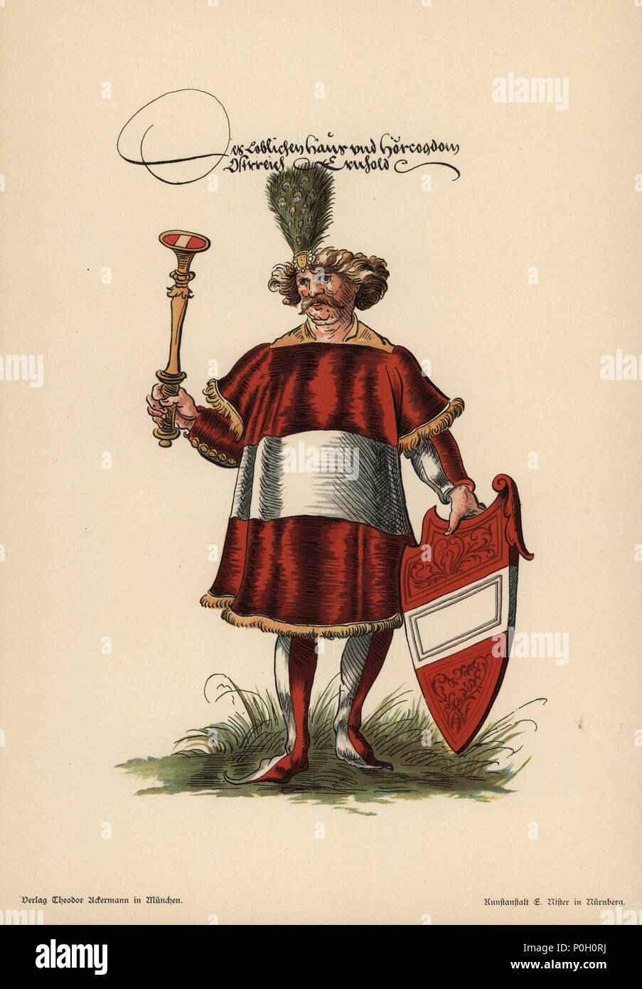 Austrian herald, Herold des Osterreich. He wears a peacock crest and armorial tunic and holds an escutcheon with the coat of arms of Austria. Chromolithograph from Otto Watzelberger's Beitraege zum Formenschatz der Heraldik (Contributions to the Vocabulary of Heraldry), Theodor Ackermann, Munich, 1900. Otto Watzelberger was Secretary of the Koeniglich Bayerischen Haus-Ritter-Ordens vom heiligen Georg (Royal Bavarian House Equestrian Order of Saint George). - Stock Image