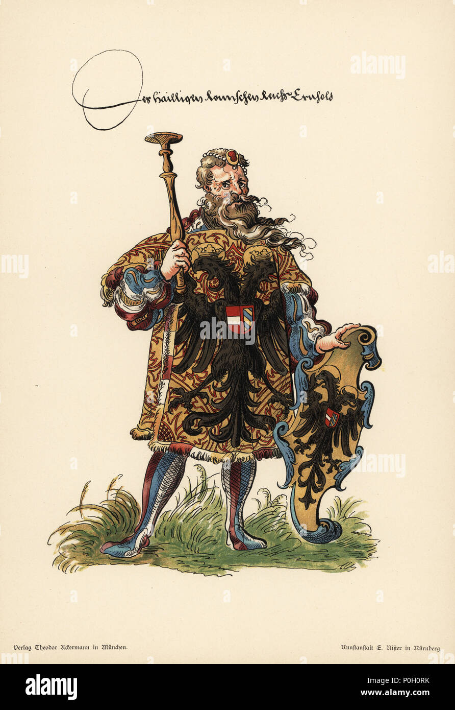 Herald of the Holy Roman Empire; Herold der heiliges Romisches Reich. He wears an armorial tunic and carries an escutcheon with the black double-headed eagle on gold field. Chromolithograph from Otto Watzelberger's Beitraege zum Formenschatz der Heraldik (Contributions to the Vocabulary of Heraldry), Theodor Ackermann, Munich, 1900. Otto Watzelberger was Secretary of the Koeniglich Bayerischen Haus-Ritter-Ordens vom heiligen Georg (Royal Bavarian House Equestrian Order of Saint George). - Stock Image