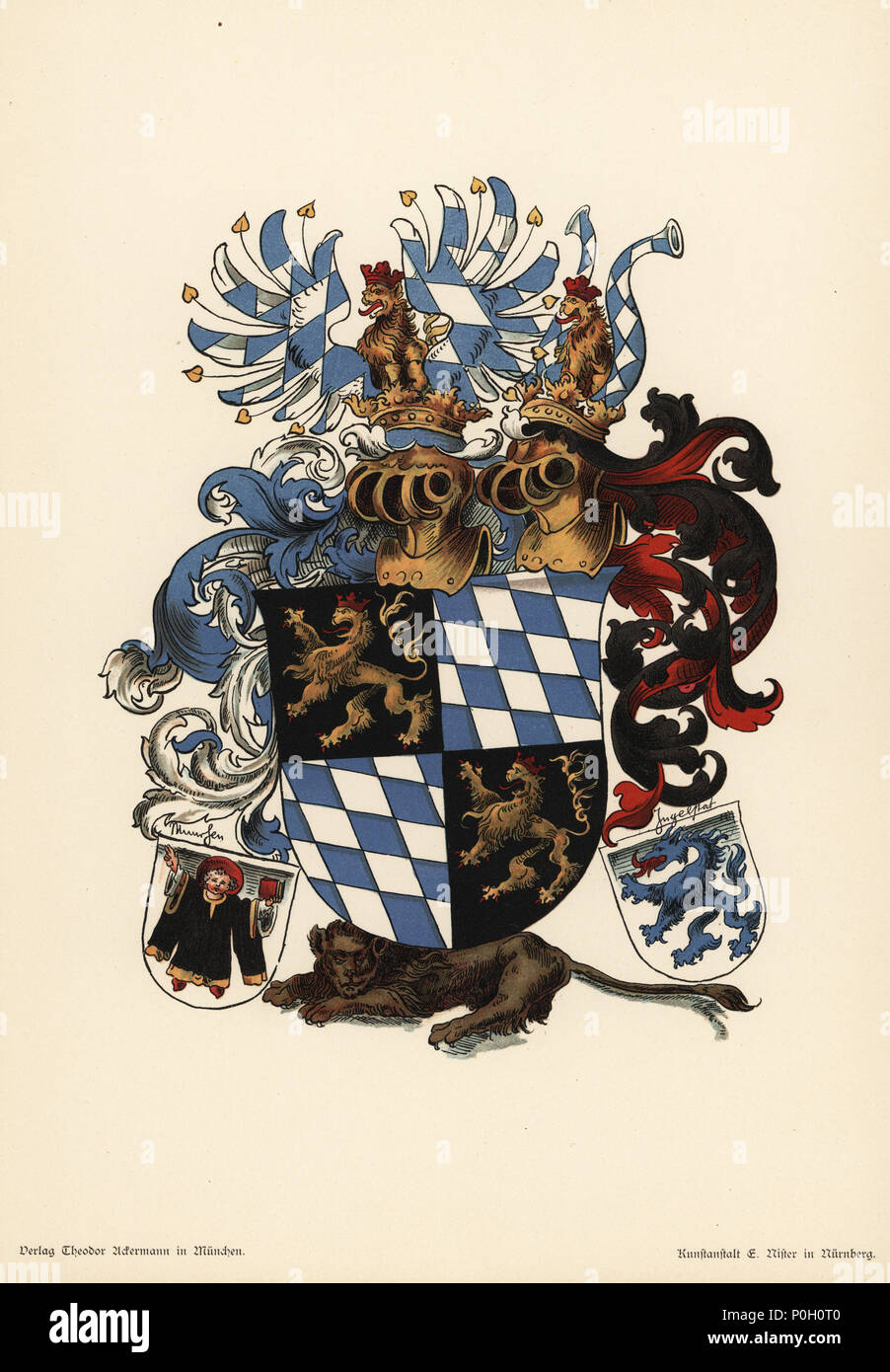 Armorial of the region of Pfalz Bavaria, Pfalzbayer Wappen. Arms of Bavaria, fusele en bande d'argent et d'azur, and Palatine lion. With the escutcheon of the city of Munich (a monk holding a bible). Chromolithograph from Otto Watzelberger's Beitraege zum Formenschatz der Heraldik (Contributions to the Vocabulary of Heraldry), Theodor Ackermann, Munich, 1900. Otto Watzelberger was Secretary of the Koeniglich Bayerischen Haus-Ritter-Ordens vom heiligen Georg (Royal Bavarian House Equestrian Order of Saint George). - Stock Image