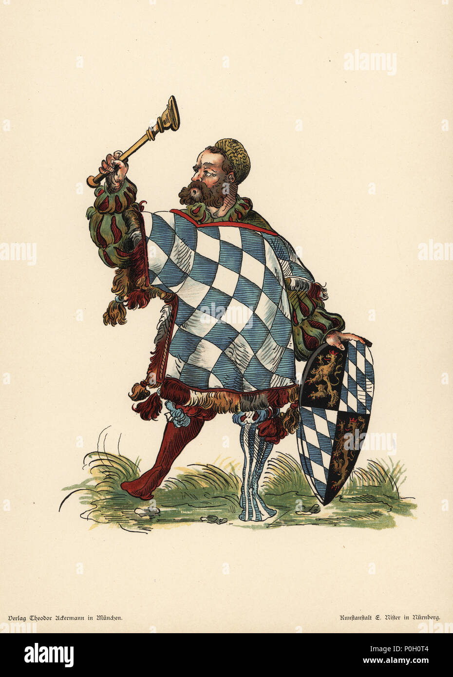 Herald of Old Bavaria, Herold der altbavarische. He wears an armorial tunic with the silver and blue lozenges of Bavaria, and holds an escutcheon with Palatine lion and Bavarian arms. Chromolithograph from Otto Watzelberger's Beitraege zum Formenschatz der Heraldik (Contributions to the Vocabulary of Heraldry), Theodor Ackermann, Munich, 1900. Otto Watzelberger was Secretary of the Koeniglich Bayerischen Haus-Ritter-Ordens vom heiligen Georg (Royal Bavarian House Equestrian Order of Saint George). - Stock Image
