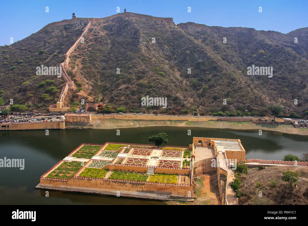 View of Kesar Kyari (Saffron Garden) on Maota Lake from Amber Fort, Rajasthan, India. Amber Fort is the main tourist attraction in the Jaipur area. - Stock Image