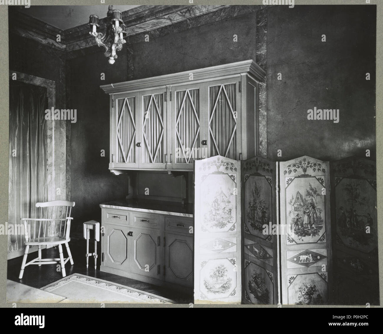 Whitemarsh Hall, Edward Townsend Stotesbury House, Wyndmoor, Pennsylvania.  Interior, Detail Of Cabinet And Screen