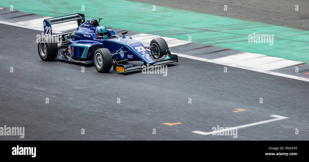 SLIVERSTONE UK - JUNE 8, 2018: Billy Monger BRDC British F3  Championship at Silverstone race circuit - Stock Image