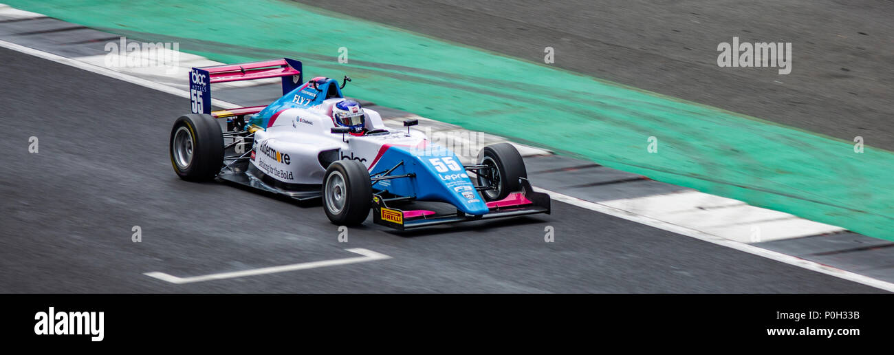 SLIVERSTONE UK - JUNE 8, 2018: Jamie Chadwick BRDC British F3  Championship at Silverstone race circuit - Stock Image