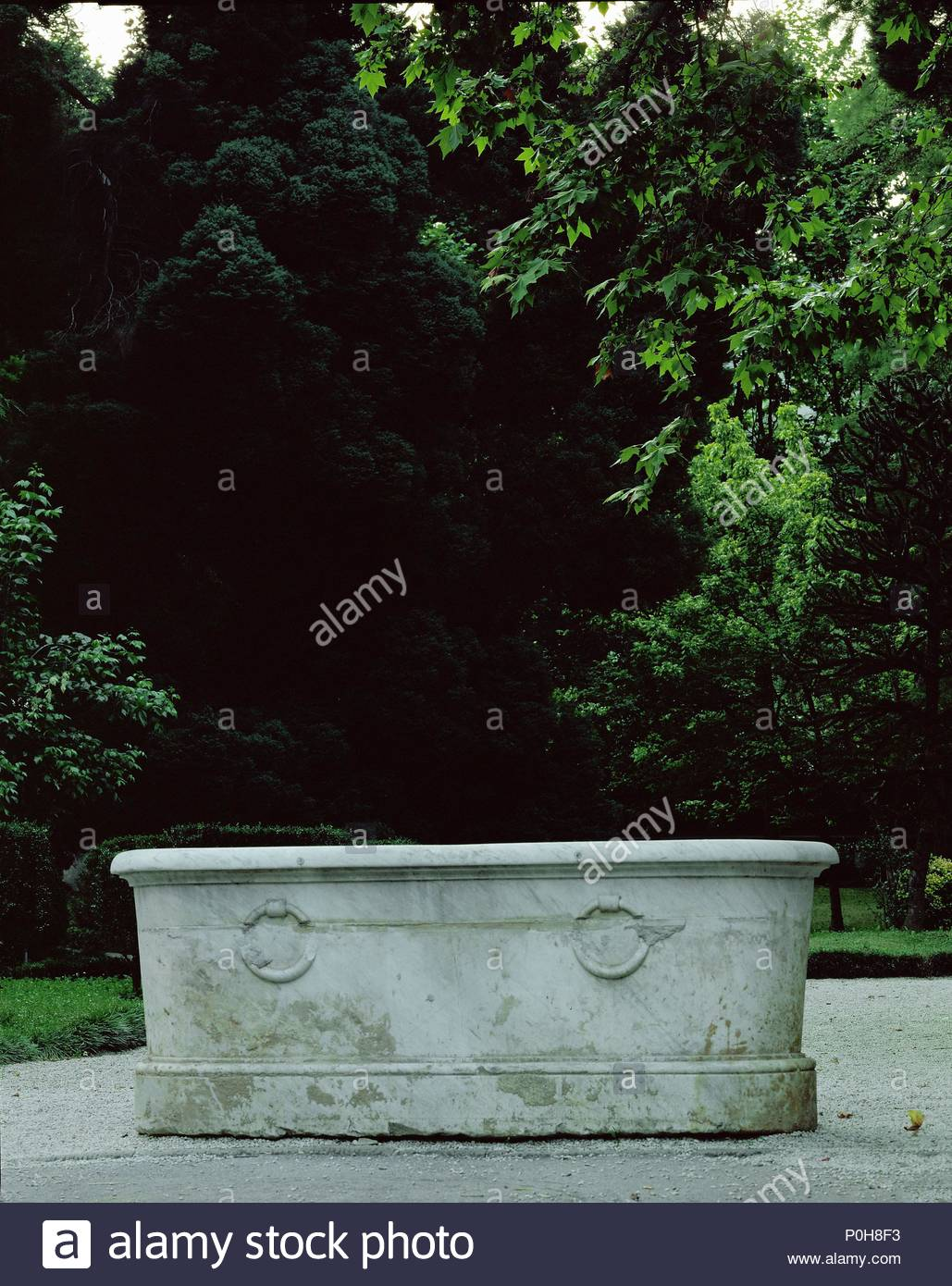 Bagni di Lucca, marble bathtubs, used for bathing in the early 19th ...
