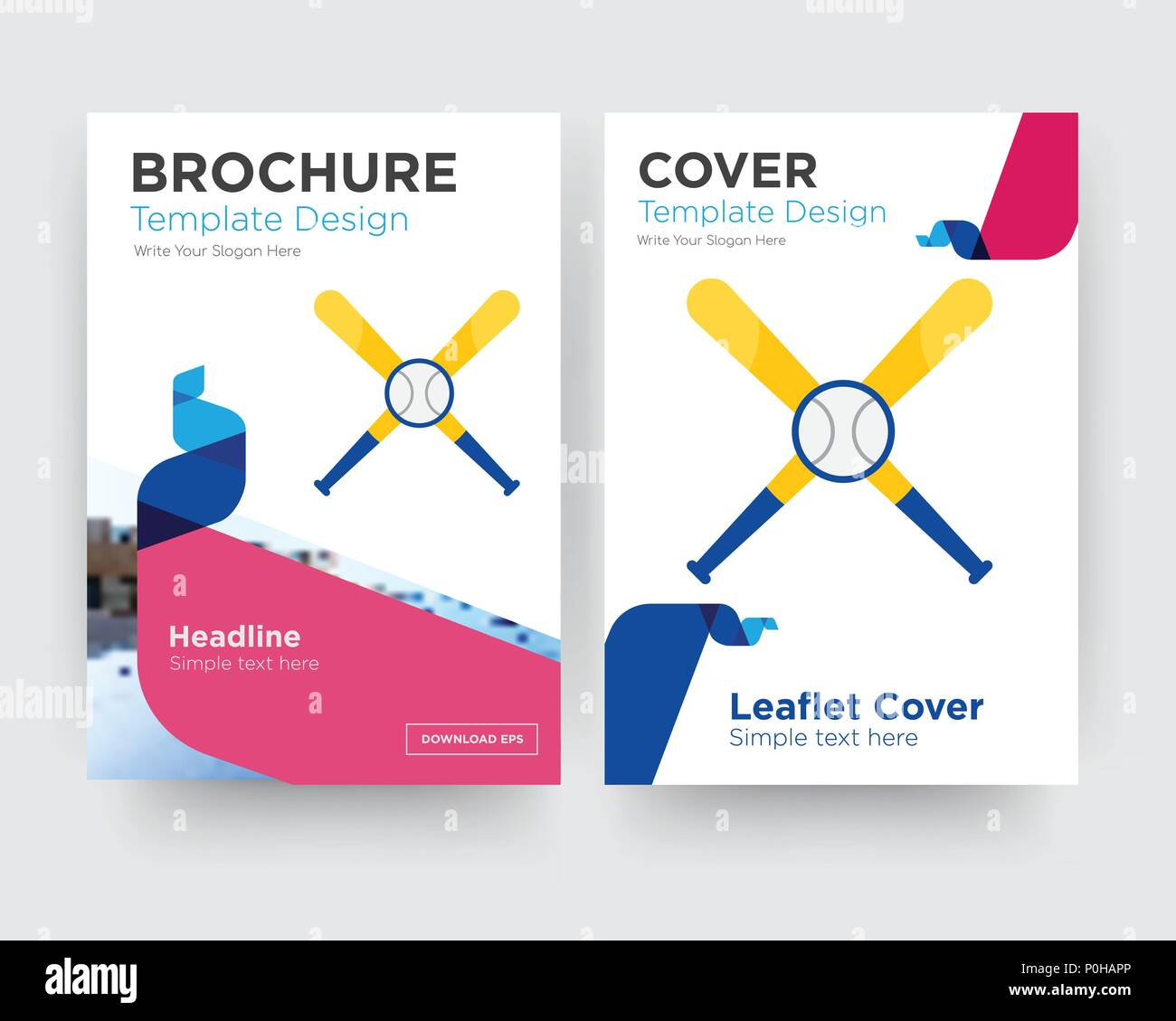 baseball team brochure flyer design template with abstract photo background, minimalist trend business corporate roll up or annual report Stock Vector
