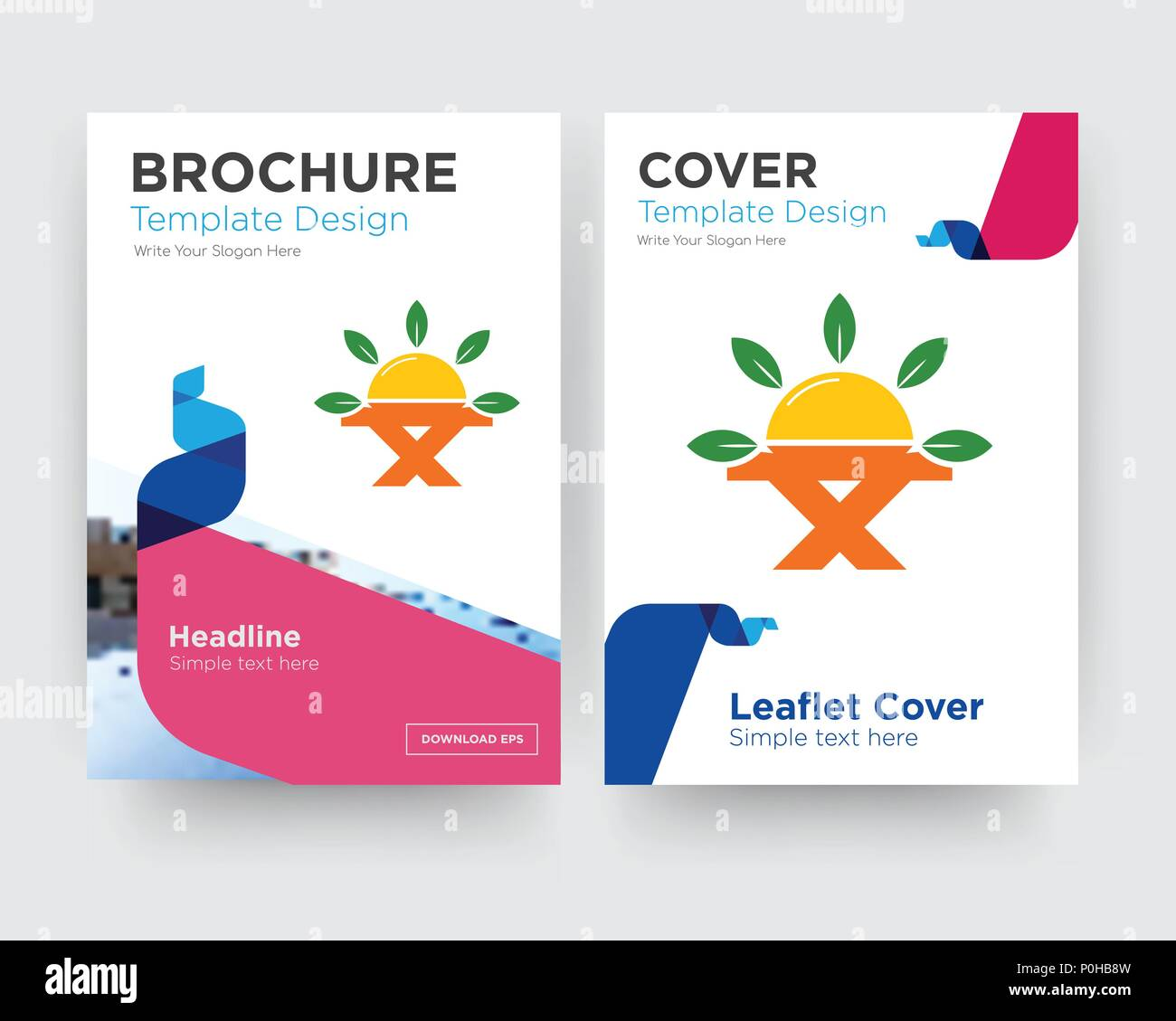 farm to table brochure flyer design template with abstract photo background, minimalist trend business corporate roll up or annual report Stock Vector