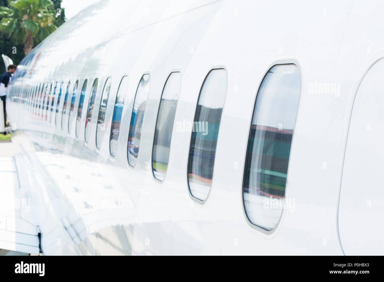 passenger airline windows from outside - Stock Image