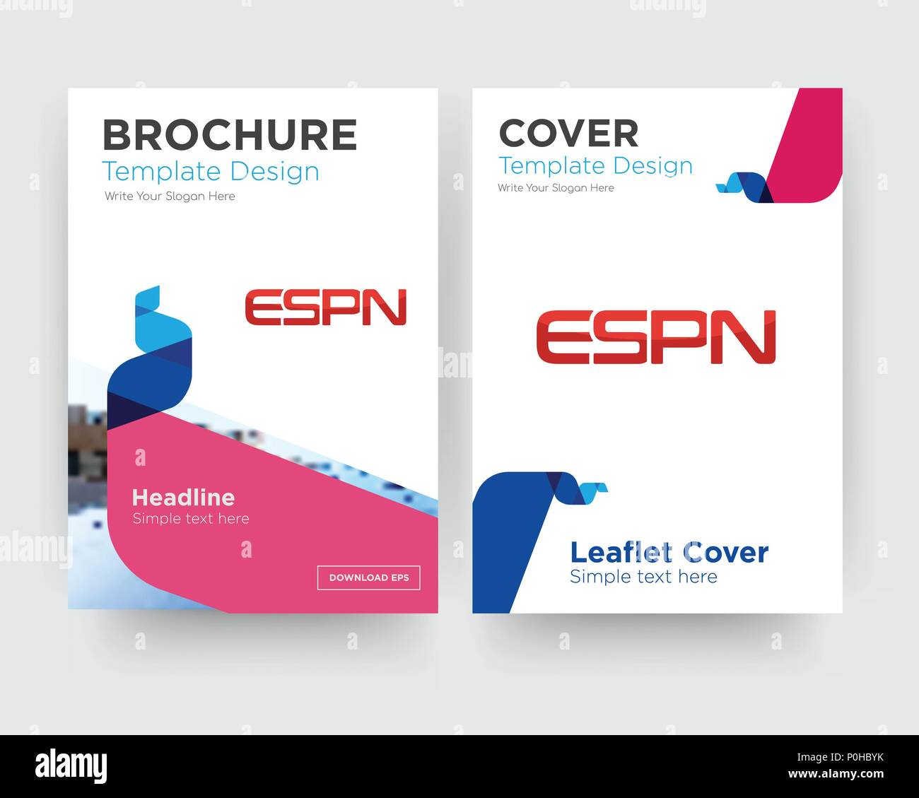 Espn Brochure Flyer Design Template With Abstract Photo Background