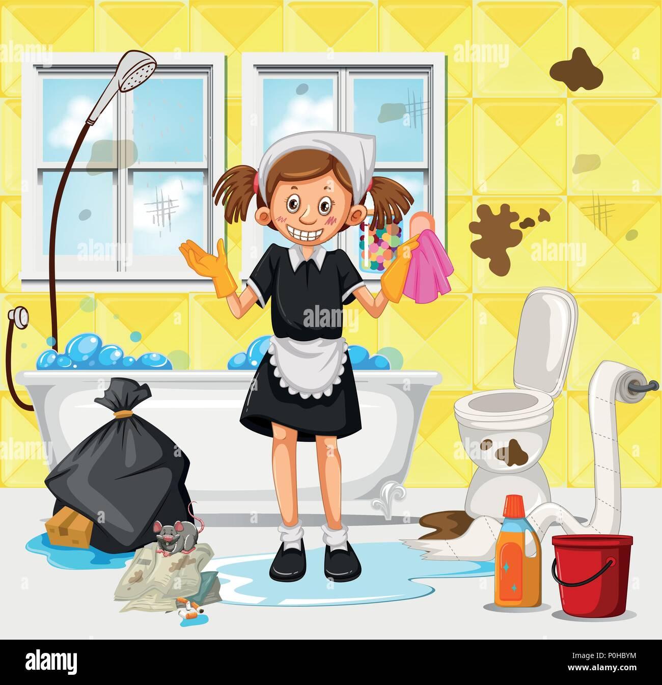 Dirty Bathroom Pics: A Maid Cleaning Dirty Bathroom Illustration Stock Vector