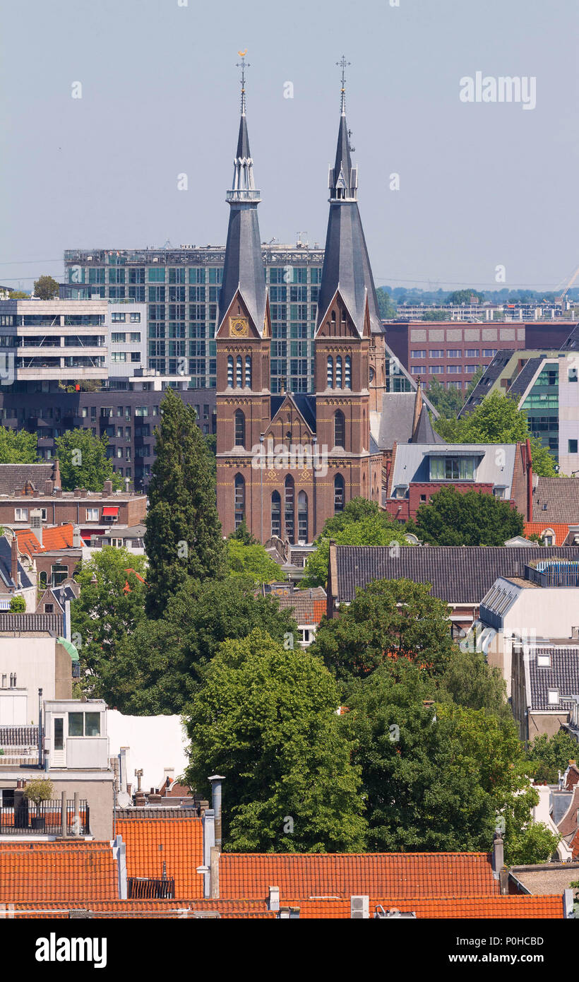 Posthoornkerk church built in 1863. City view from the bell tower of the church Westerkerk, Holland, Netherlands - Stock Image